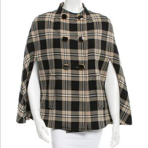 Kate Spade The Plaid Sophie Cape Wool Blend S